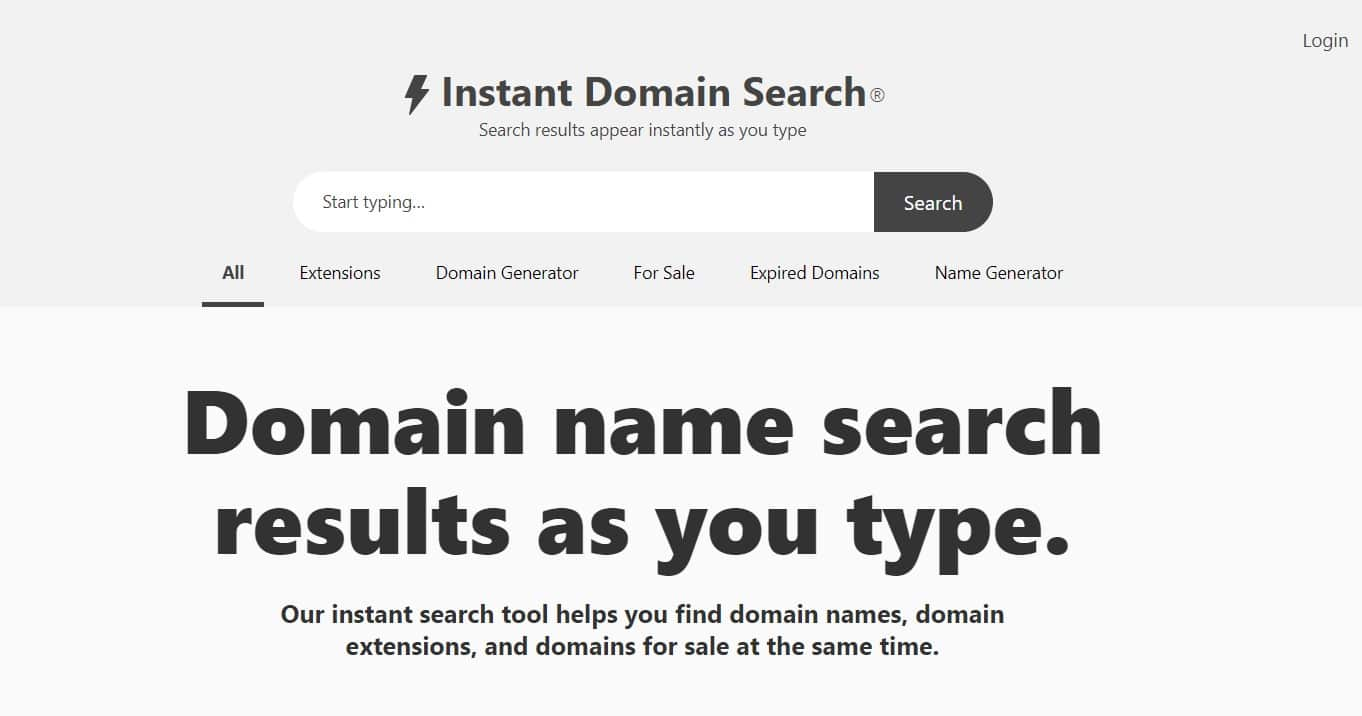 Instant Domain Search: An Instant domain suggestion tool with all types of domain status