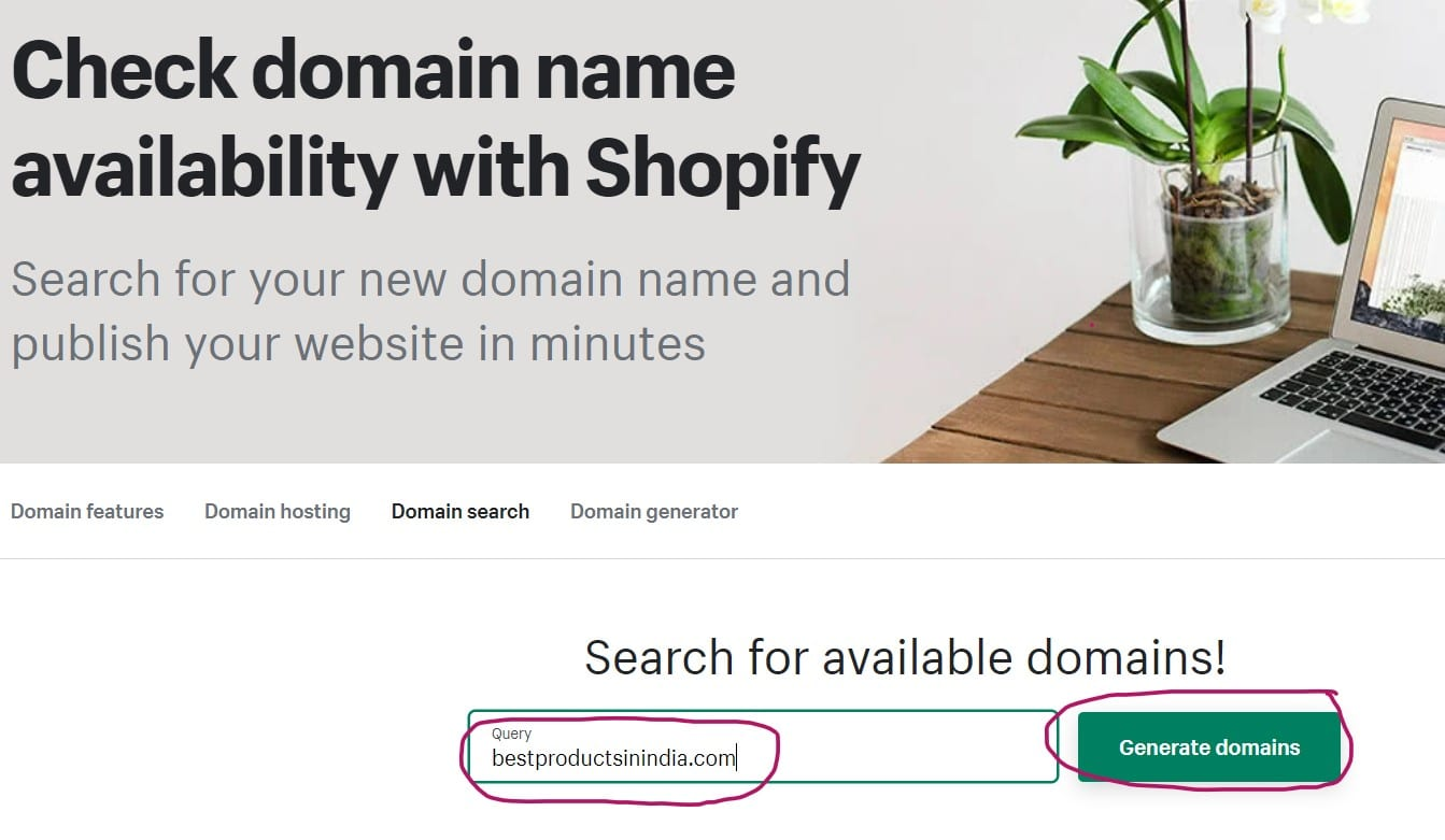 Step 1 - Shopify Domain Name Availability