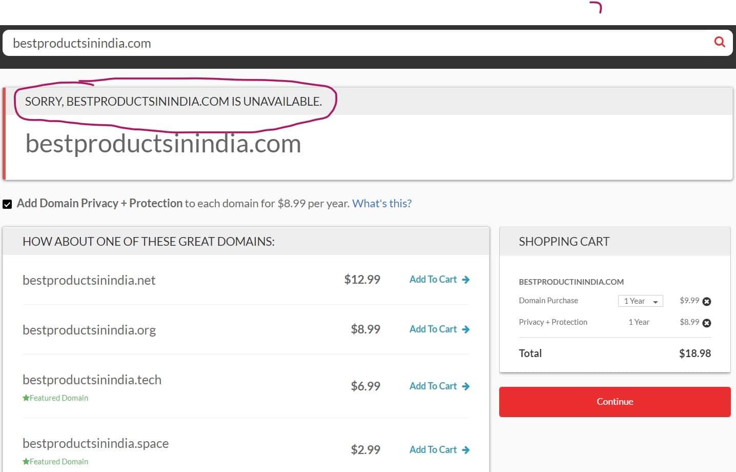 Step 1 - Domain.com Domain Name Availability