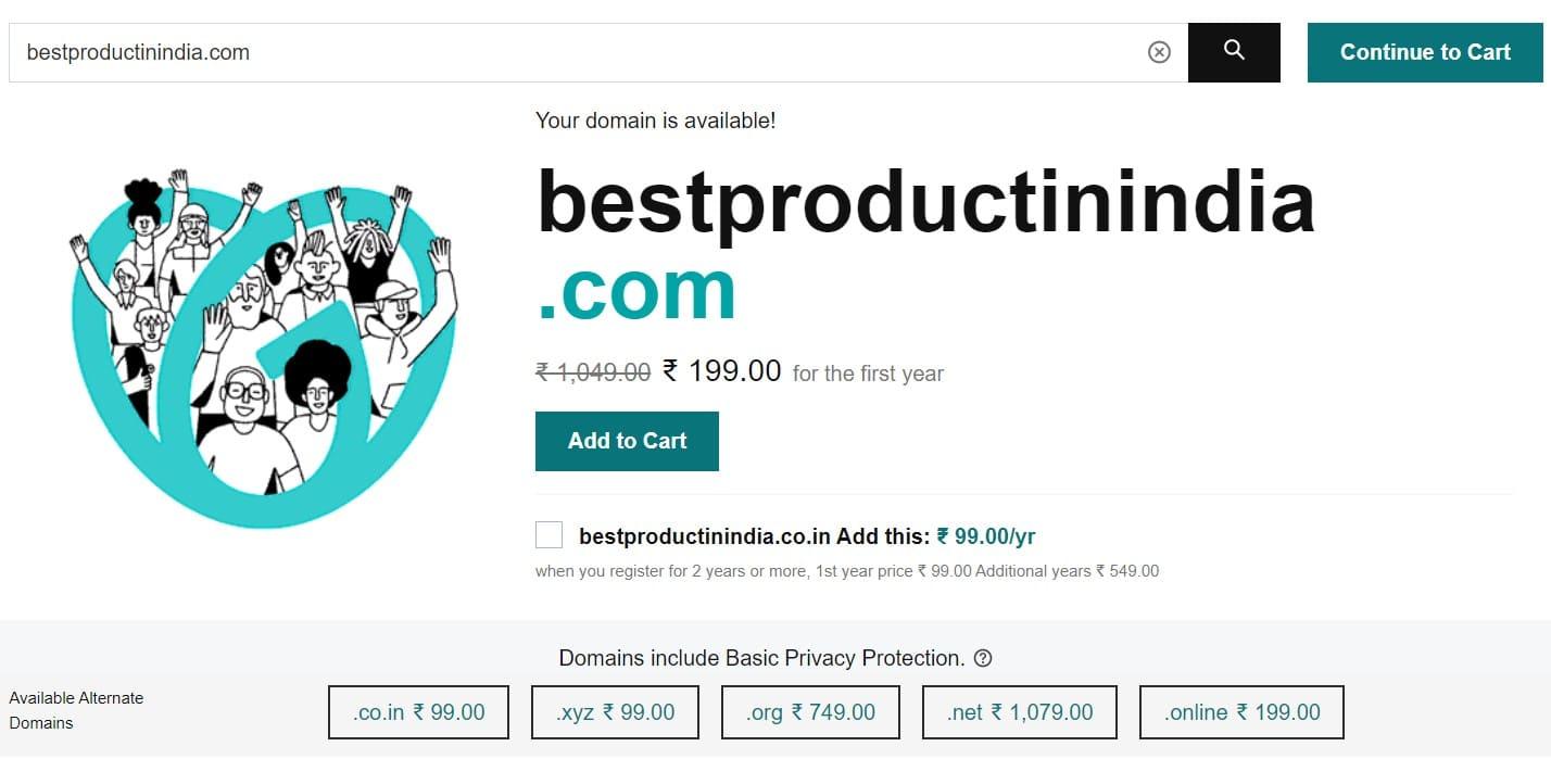 Step 3 - GoDaddy Domain Name Availability