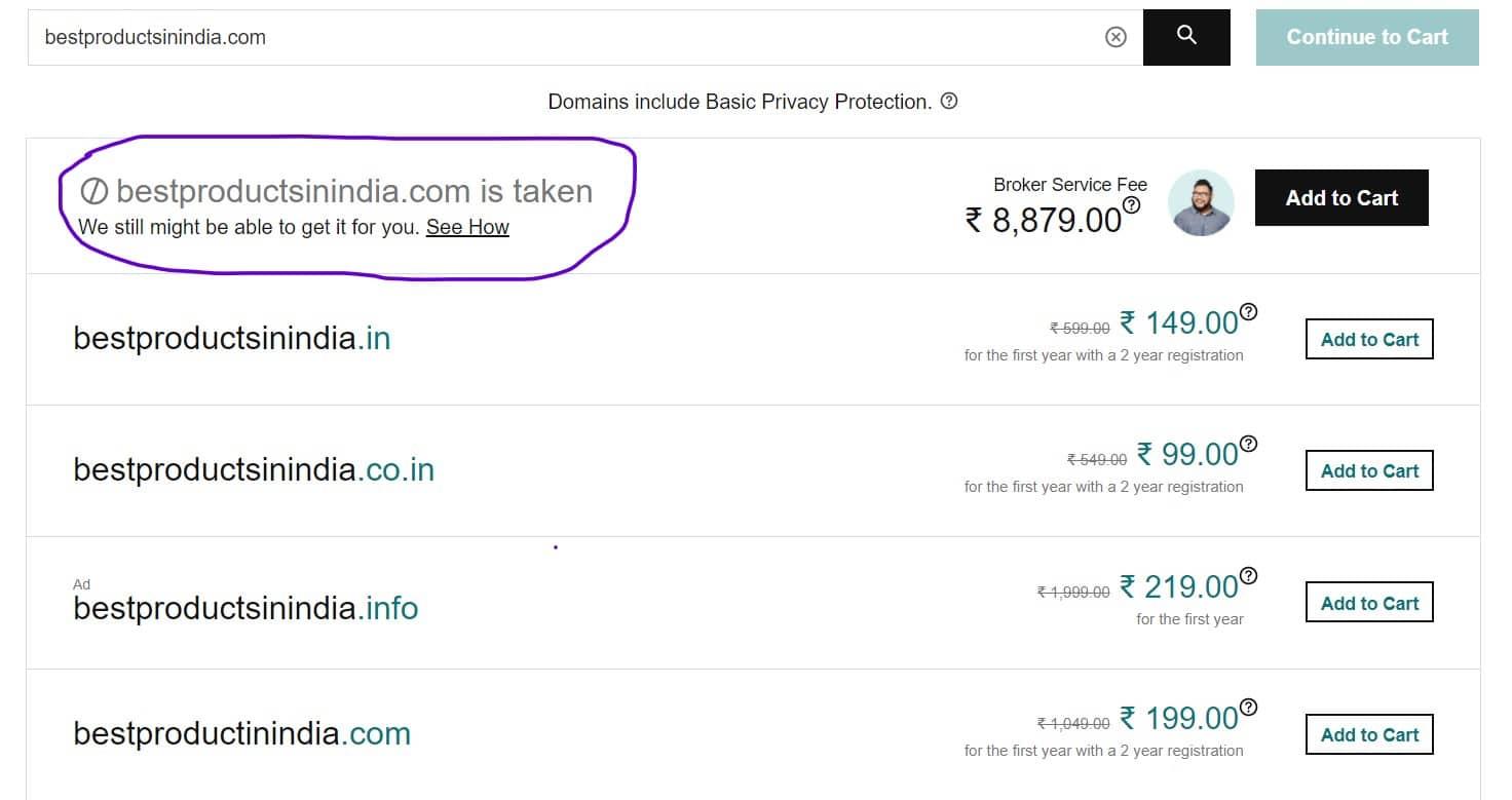 Step 4 - GoDaddy Domain Name Availability