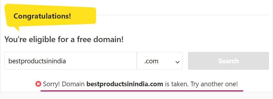 Step 1 - Hostinger Domain