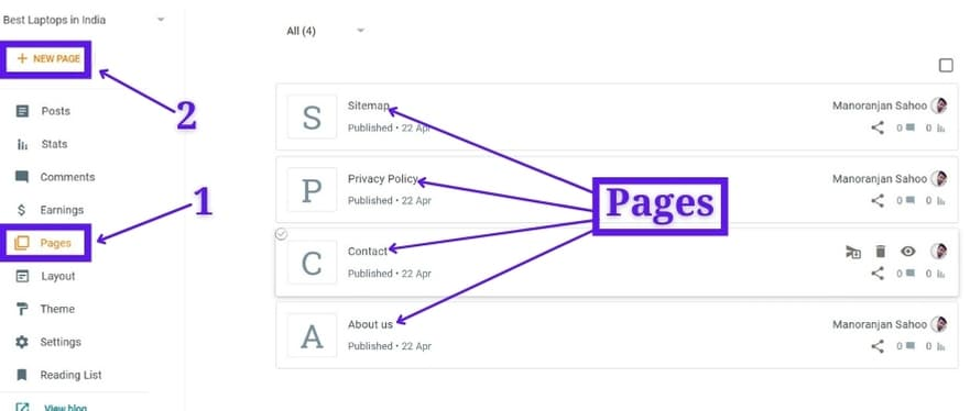 Create Pages On A Blogger Blog