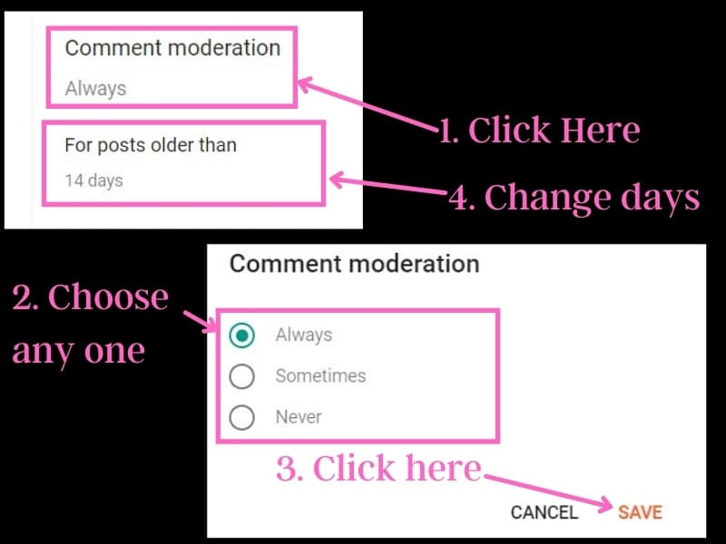 Manage comments on blogger